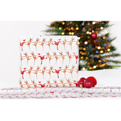 Santa with reindeer wrapping paper
