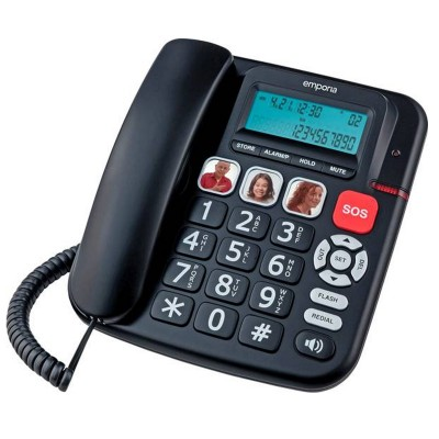 Corded black big button phone