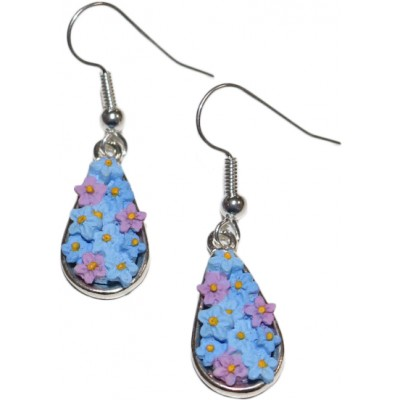 Hand-Painted Forget-Me-Not Dropper Earrings