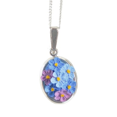 Hand-Painted Forget-Me-Not Oval Pendant Necklace