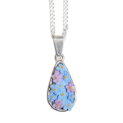 Hand-Painted Forget-Me-Not Teardrop Pendant Necklace