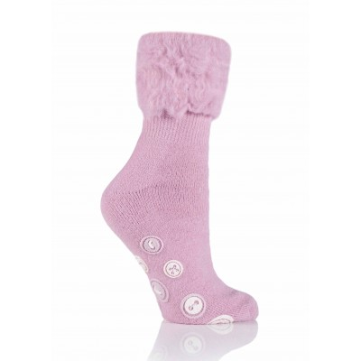 Anna Non-Slip Bed Socks in Pink Peony