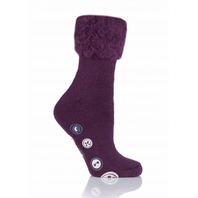 Anna Non-Slip Bed Socks in Red Pinotage