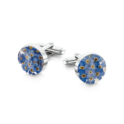 Forget-me-not Silver Round Cufflinks