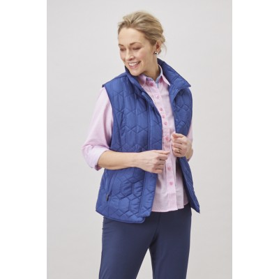 Harriet Diamond Quilted Velcro Gilet - Navy