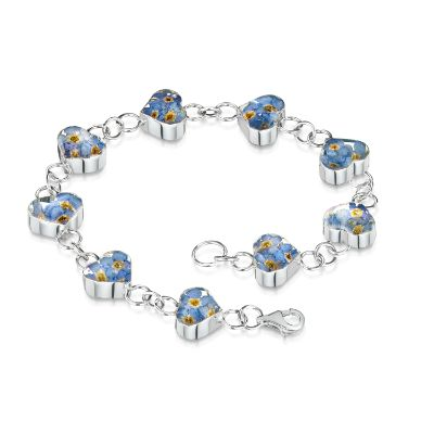 Forget-me-not Silver Heart Bracelet