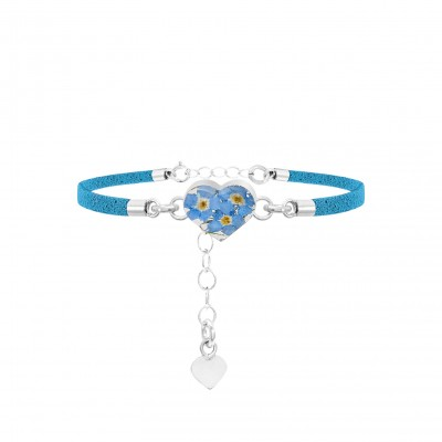 Forget-me-not Silver Heart Fashion Bracelet