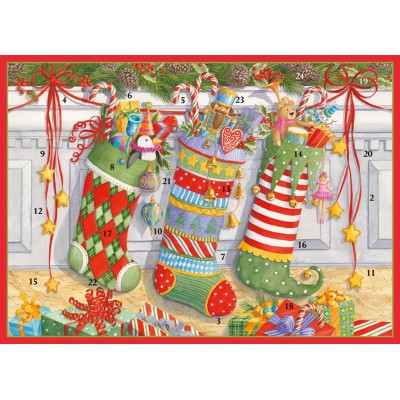 Mini stockings on mantle advent calendar card