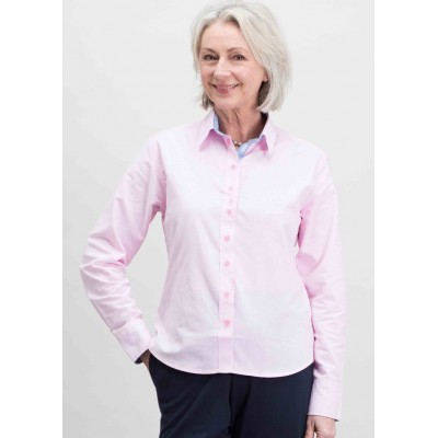 Olivia Long Sleeve Oxford Velcro Shirt - Pink