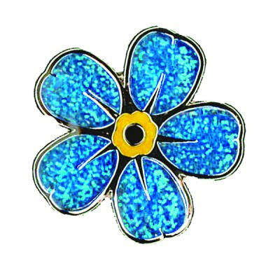 Sparkling flower pin badge x 10