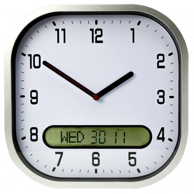 Day date wall clock in White