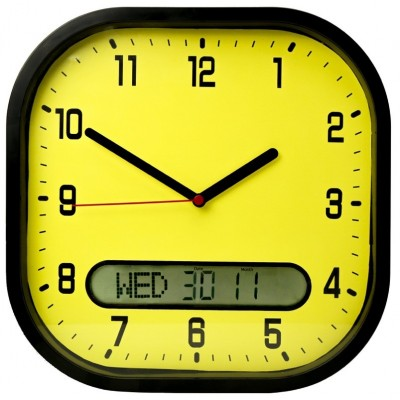 Day date wall clock In Yellow