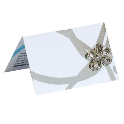 Wedding table card with Silver pin badge x 10