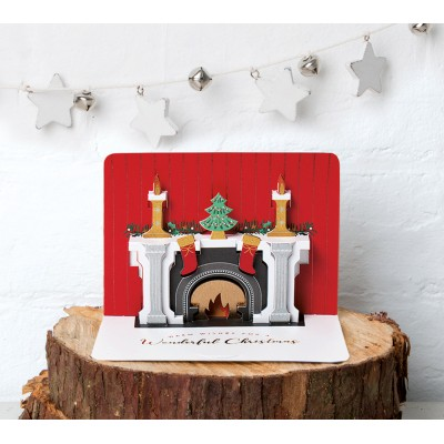Christmas Fireplace - Pop-up Card, Pack of 5