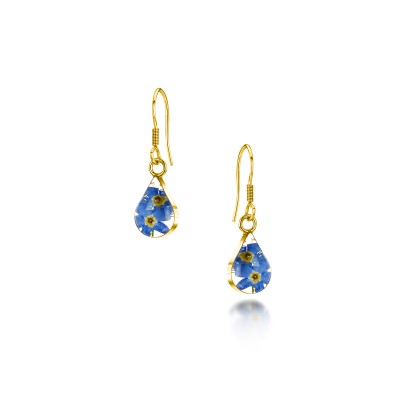 Forget-me-not Gold Plated Teardrop Earrings