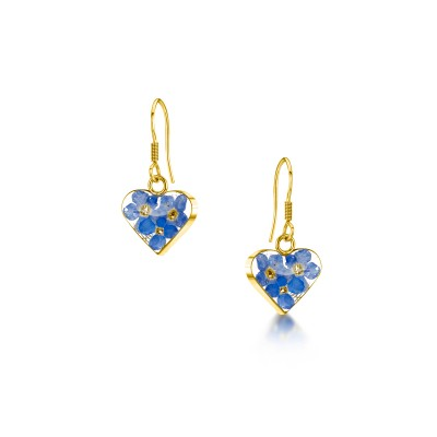 Forget-me-not Gold Plated Heart Earrings