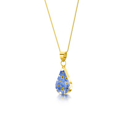 Forget-me-not Gold Plated Teardrop Pendant