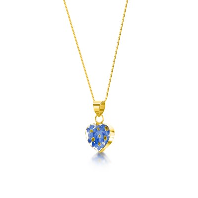 Forget-me-not Gold Plated Heart Pendant