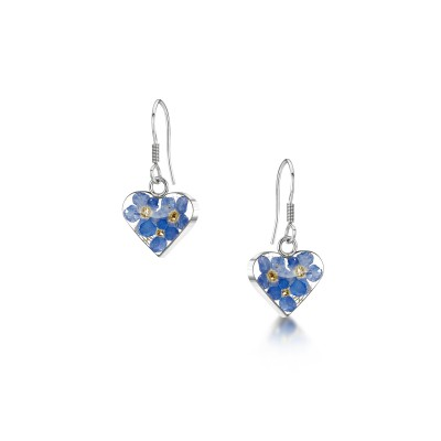 Forget-me-not Silver Heart Earrings