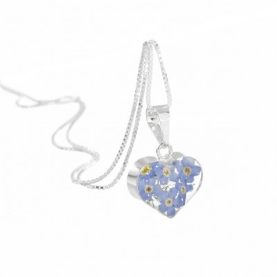 Forget-me-not Silver Heart Pendant