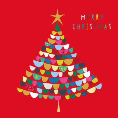 Merry Christmas Tree Cards, Pack of 10