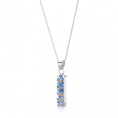 Forget-me-not Silver Bar Necklace