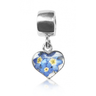 Forget-me-not Silver Heart Charm
