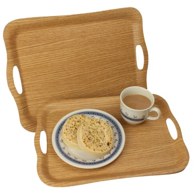 Non slip oak finish tray