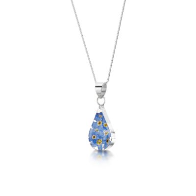 Forget-me-not Silver Teardrop Pendant
