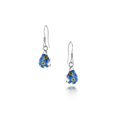 Forget-me-not Silver Teardrop Earrings